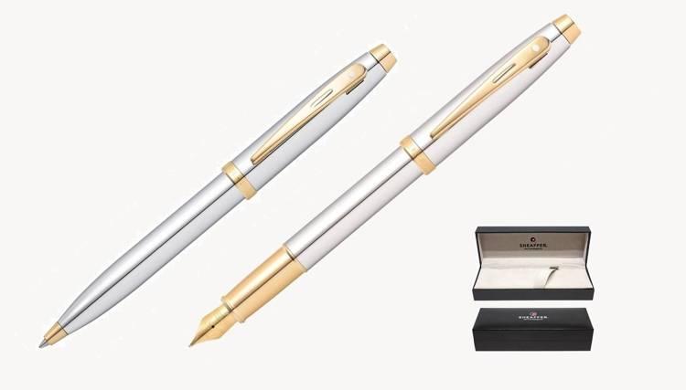9340 Zestaw (pióro wieczne i długopis) Sheaffer kolekcja 100, chrom, wykończenia w kolorze złotym