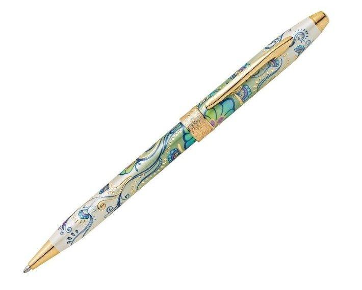 Długopis Cross Botanica Green Daylily, motyw zielony, elementy pokryte 23k złotem