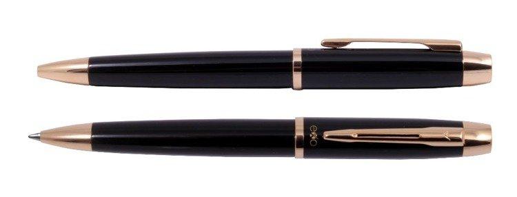 Długopis EXO Aries, czarny, wykończenia złote