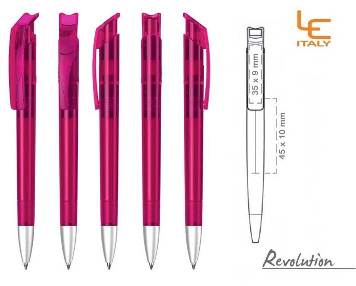 Długopis LE ITALY Revolution transparentny ALrPET różowy