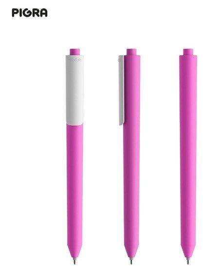 Długopis PIGRA P03, różowy z białym klipsem