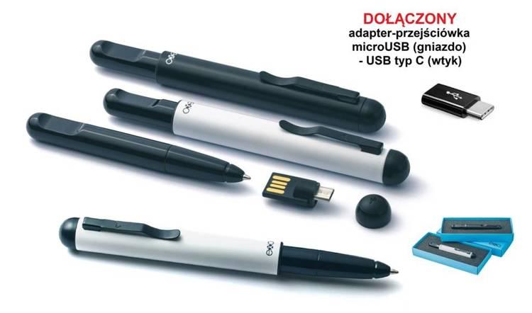 Długopis exo PenCraft z pamięcią 16GB i OTG, czarny, czarne wykończenia