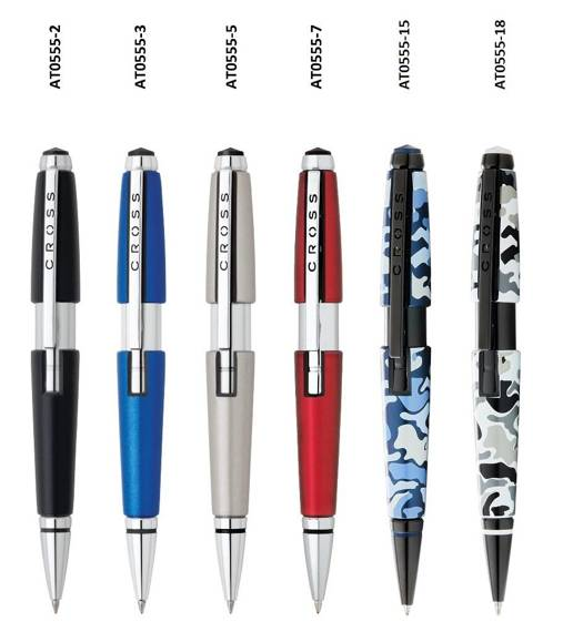 Długopis żelowy Cross Edge niebieskie moro, elementy czarne PVD