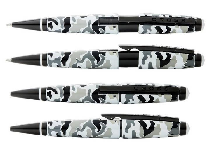 Długopis żelowy Cross Edge szare moro, elementy czarne PVD