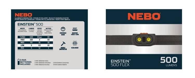 NEBO® Latarka-czołówka Einstein™ 500 lumenów