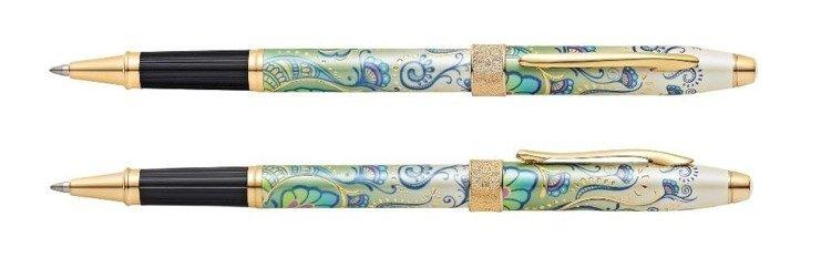 Pióro kulkowe Cross Botanica Green Daylily, motyw zielony, elementy pokryte 23k złotem