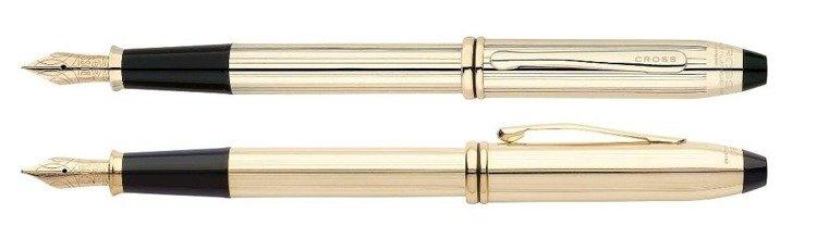Pióro wieczne Cross Townsend pokryte 10k złotem, elementy platerowane 23k złotem