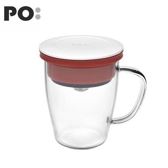 Szklanka z zaparzaczem PO: Duo, biało-czerwony