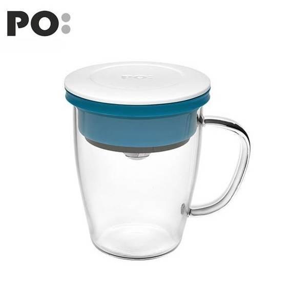 Szklanka z zaparzaczem PO: Duo, biało-niebieski