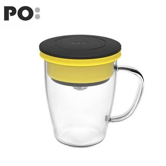 Szklanka z zaparzaczem PO: Duo, czarno-żółty