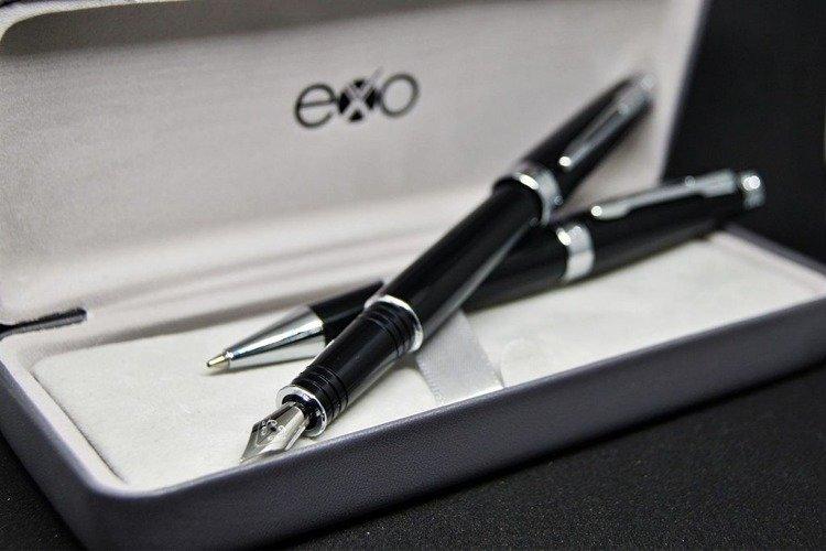 Zestaw (pióro wieczne i długopis) EXO Sagitta, czarny, wykończenia chromowane