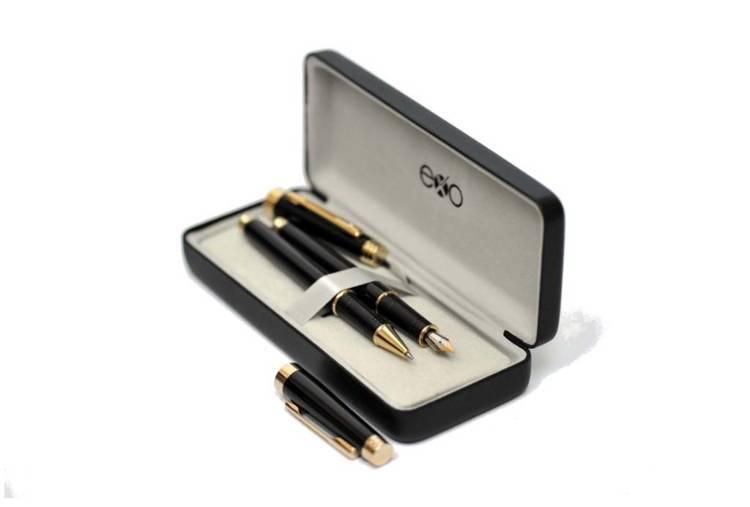 Zestaw (pióro wieczne i kulkowe) EXO Sagitta, czarny, wykończenia złote